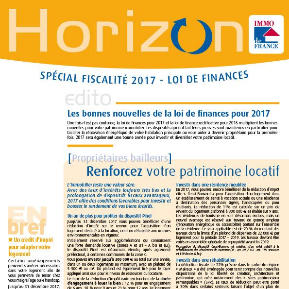 Lettre Horizon - Spécial fiscalité 2017