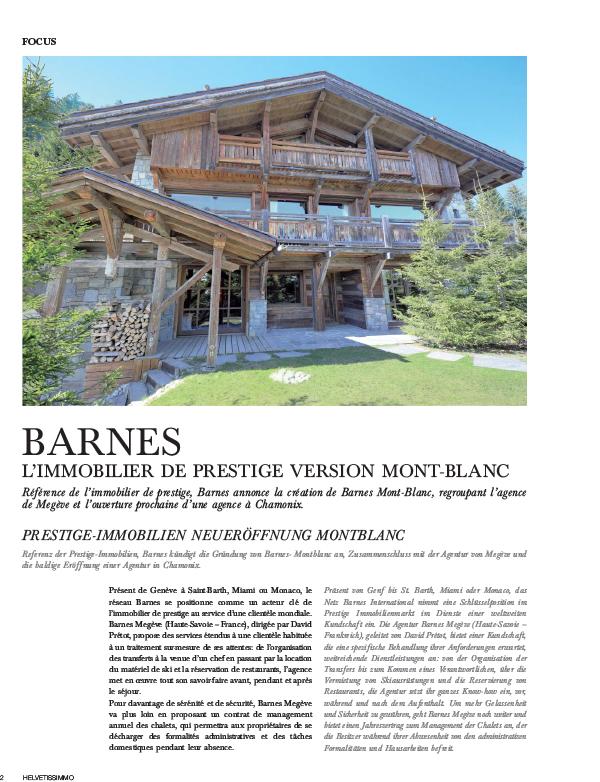 Barnes, l'immobilier de prestige version Mont Blanc - Espace presse