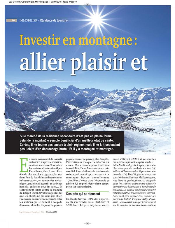 Investir en montagne : allier plaisir et placement - Espace presse