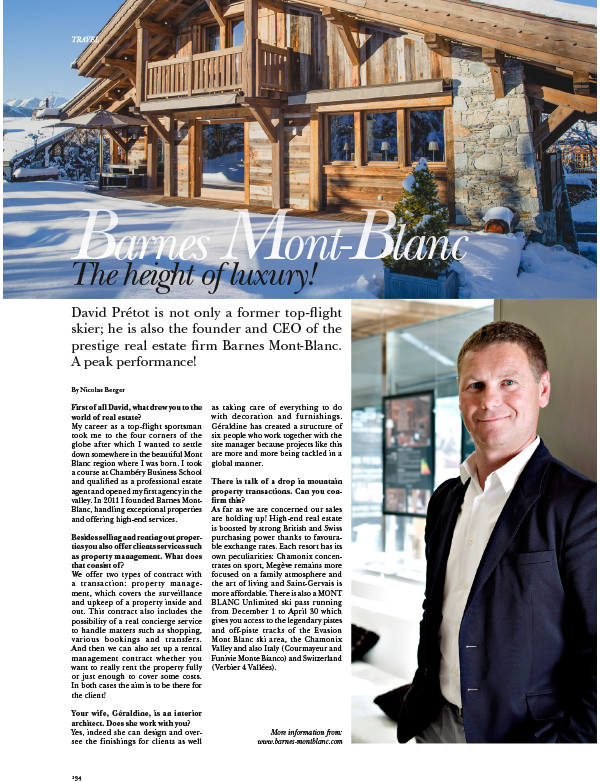 Barnes Mont Blanc, the height of luxury - Espace presse
